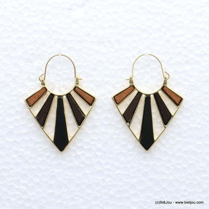 earrings 0319046-02 geometric metal-wood saddle-back clasp 40x55mm