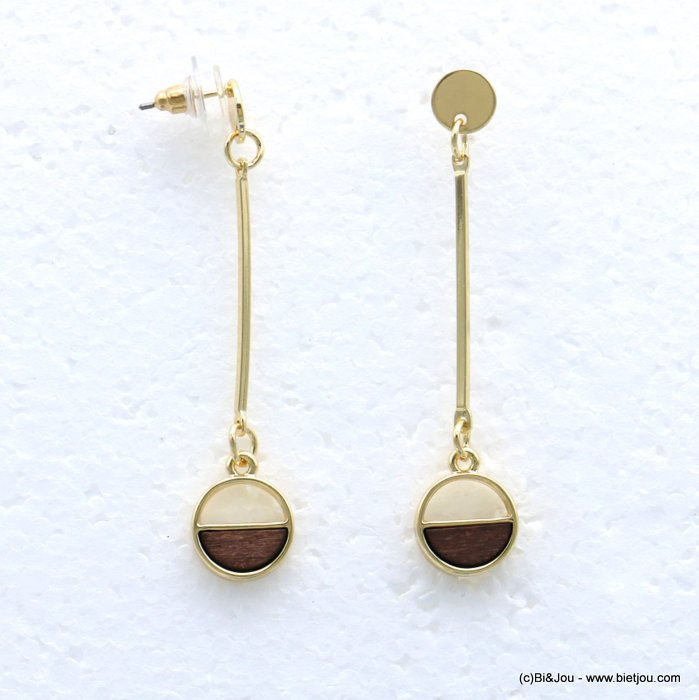 earrings 0319048-02 stud clasp metal-wood 12x60mm