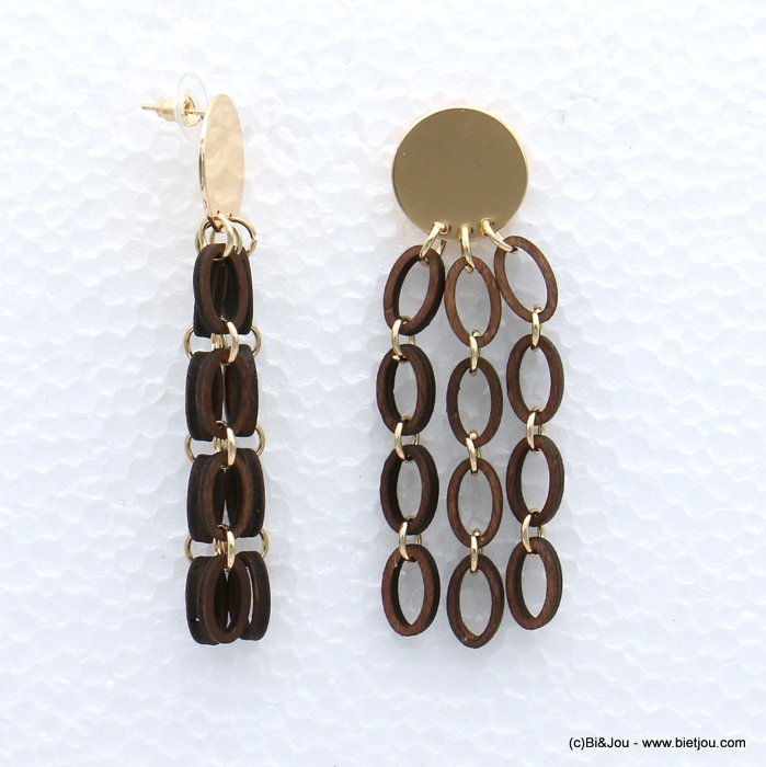 earrings 0319051-02 geometric metal-wood stud clasp 25x78mm