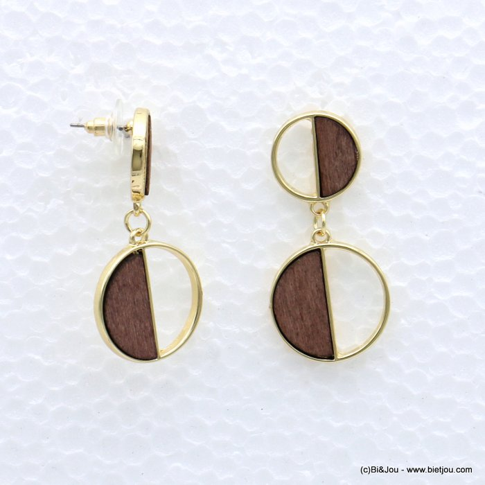 earrings 0319052-02 geometric metal-wood stud clasp 22x45mm