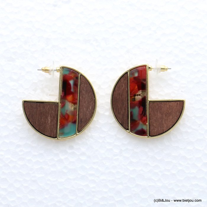 earrings 0319056-12 geometric metal-wood-resin stud clasp 40mm