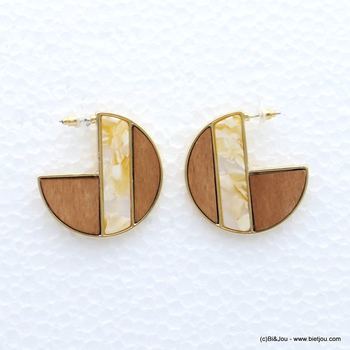 earrings 0319056-19 geometric metal-wood-resin stud clasp 40mm