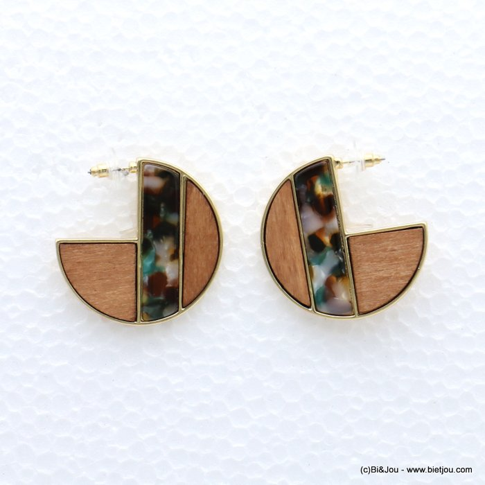 earrings 0319056-99 geometric metal-wood-resin stud clasp 40mm