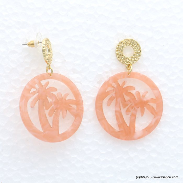 earrings 0319057-11 palm coconut tree metal-resine 34x50mm
