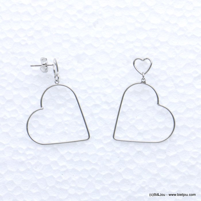 earrings 0319065-13 heart metal nail clasp 28x36mm
