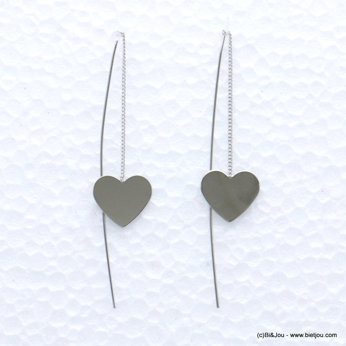 earrings 0319066-13 SILVERED heart metal threader 15x70mm