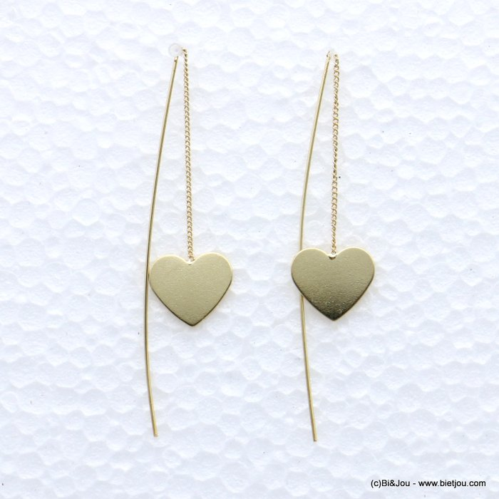 earrings 0319066-14 GOLDEN heart metal threader 15x70mm