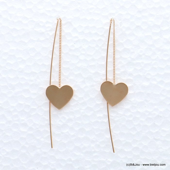 earrings 0319066-23 ROSE GOLD heart metal threader 15x70mm