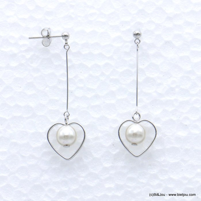 earrings 0319067-13 heart metal-acrylic beads nail clasp 13x43mm