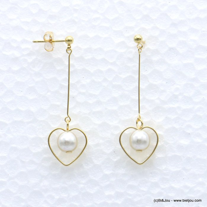 earrings 0319067-14 heart metal-acrylic beads nail clasp 13x43mm