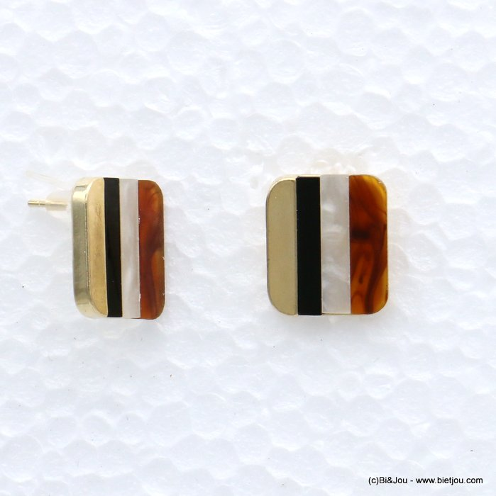 earrings 0319069-02 nail clasp resin-metal 21x18mm