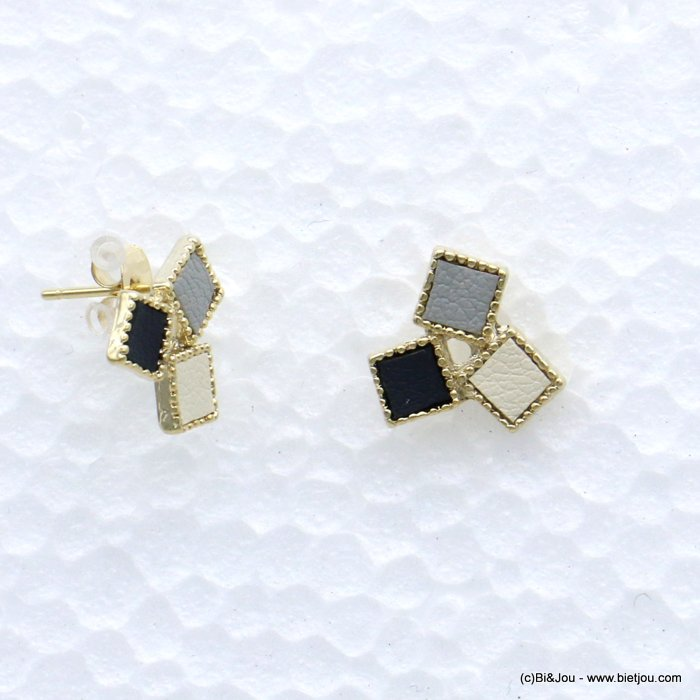 earrings 0319072-01 stud geometric cube faux-leather woman butterfly clasp metal-synthetic 9x20mm