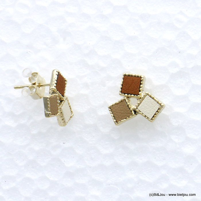 earrings 0319072-02 stud geometric cube faux-leather woman butterfly clasp metal-synthetic 9x20mm