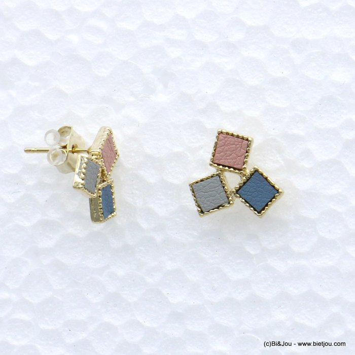 earrings 0319072-08 stud geometric cube faux-leather woman butterfly clasp metal-synthetic 9x20mm