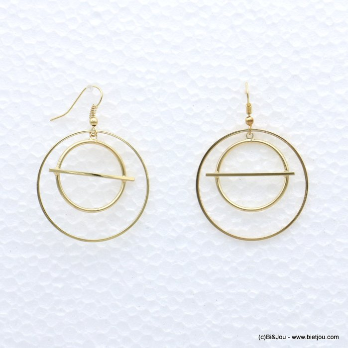 earrings 0319073-14 minimaliste geometric metal ring woman fish hook clasp 38x50mm