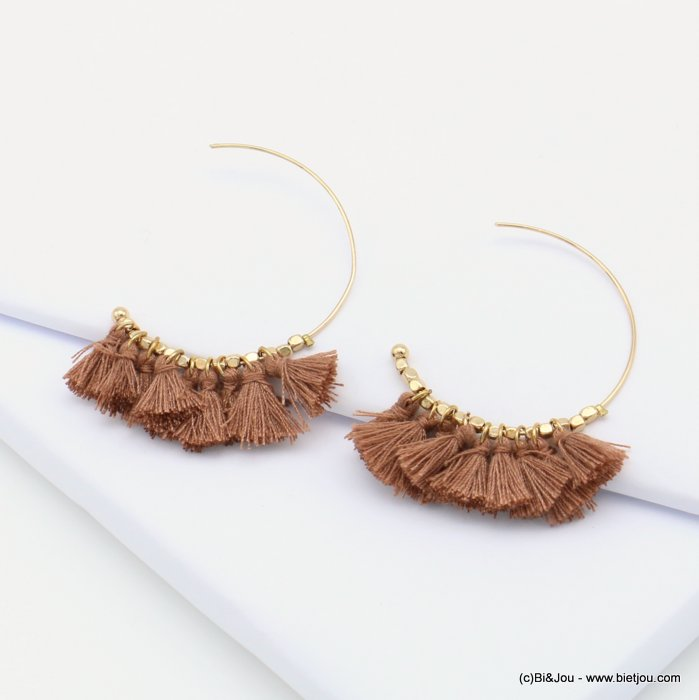 earrings 0319075-02 bohemian open hoop polyester fabric tassels metal cubes 45x50mm