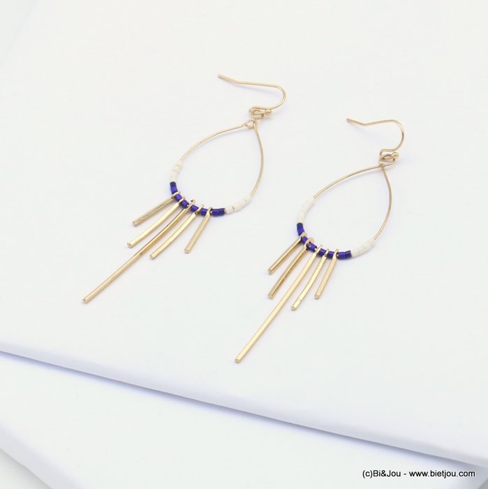 earrings 0319076-09 minimalist metal drop bar seed beads fish hook clasp 20x83mm