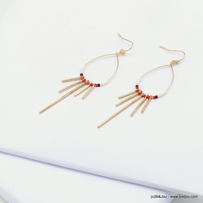 earrings 0319076-12 minimalist metal drop bar seed beads fish hook clasp 20x83mm