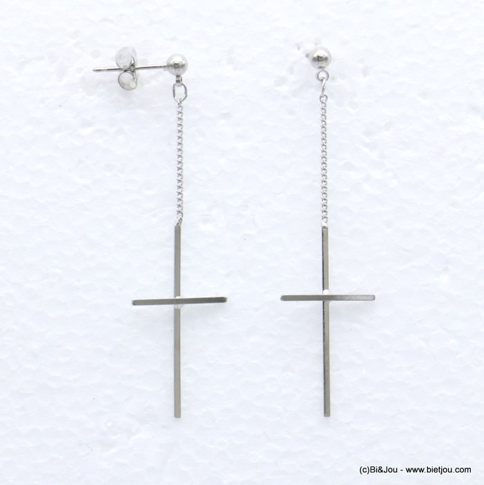 earrings 0319099-13 chain cross metal dangle woman butterfly clasp 15x55mm