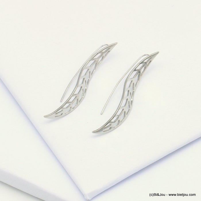 earrings 0319104-13 threader leaf openwork shiny metal woman 8x55mm