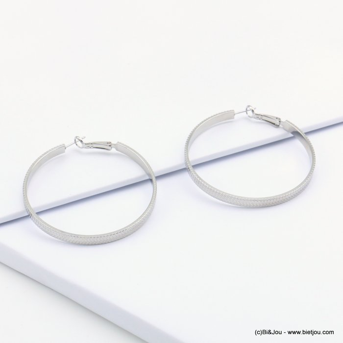 earrings 0319107-13 hoop large flat stripped shiny metal saddle-back clasp woman 4x45mm