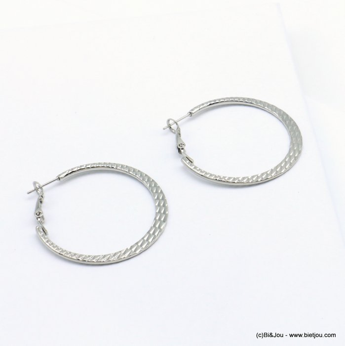 earrings 0319110-13 hoop flat stripped shiny metal saddle-back clasp woman 40mm
