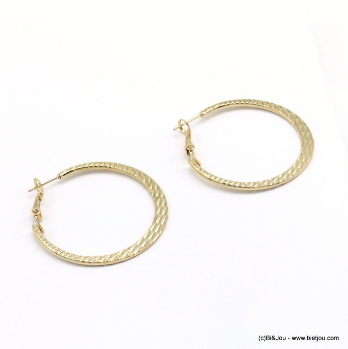 earrings 0319110-14 hoop flat stripped shiny metal saddle-back clasp woman 40mm