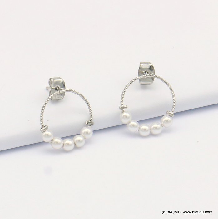earrings 00319121-13 metal-polyester 16mm