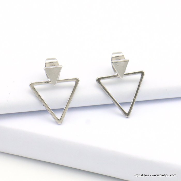 earrings 0319124-13 triangle nail clasp metal 14x16mm