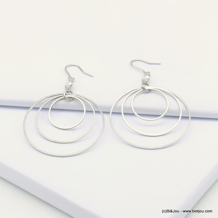 earrings 0319135-13 fish hook clasp metal-polyester 40x65mm