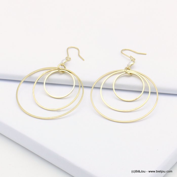 earrings 0319135-14 fish hook clasp metal-polyester 40x65mm