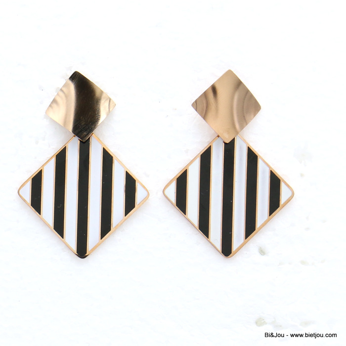 earrings 0319140-97 stainless steel golden geometric diamond-shaped enamel stripes butterfly clasp 30x50mm