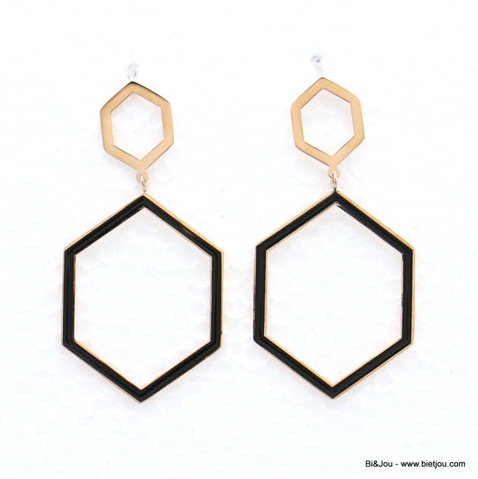 earrings 0319142-01 stainless steel geometric hexagonal enamel dangle women butterfly clasp 30x60mm