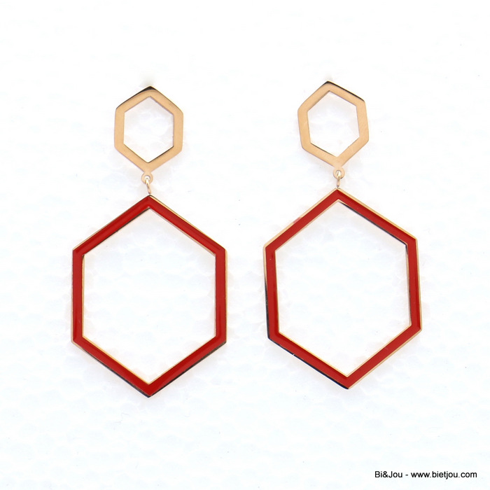 earrings 0319142-10 stainless steel geometric hexagonal enamel dangle women butterfly clasp 30x60mm