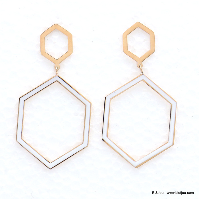 earrings 0319142-19 stainless steel geometric hexagonal enamel dangle women butterfly clasp 30x60mm