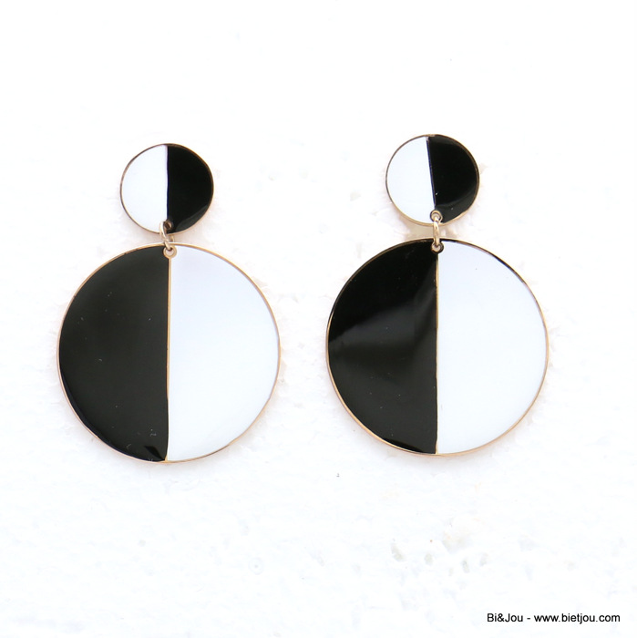 earrings 0319143-97 stainless steel two-tone round enamel dangle women butterfly clasp 30x50mm
