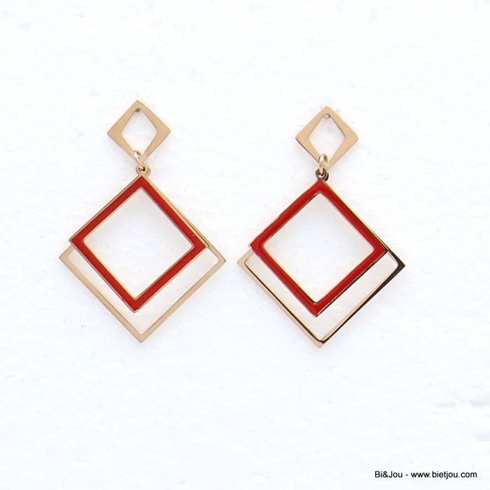 earrings 0319147-10 stainless steel overlapping squares enamel dangle women butterfly clasp 30x40mm