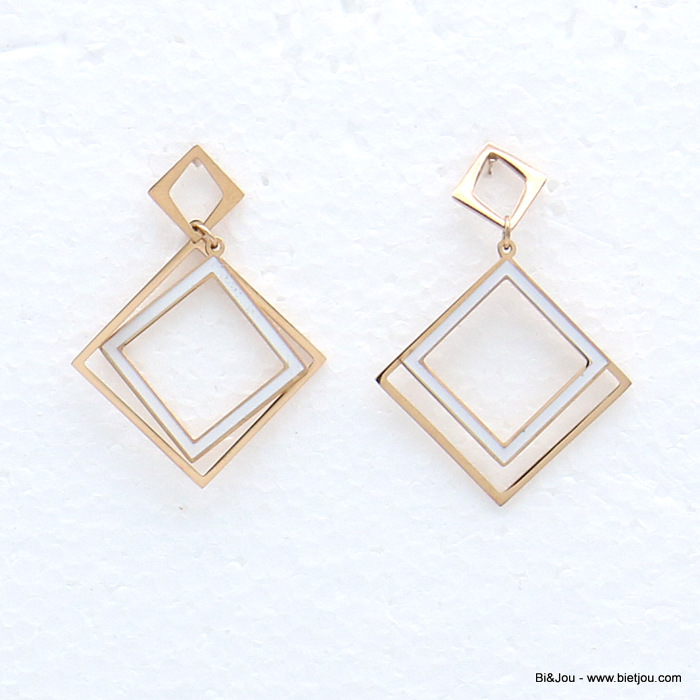 earrings 0319147-19 stainless steel overlapping squares enamel dangle women butterfly clasp 30x40mm