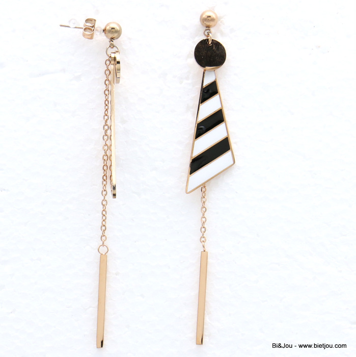earrings 0319148-01 stainless steel triangle chain bar enamel stripe dangle women butterfly clasp 10x90mm