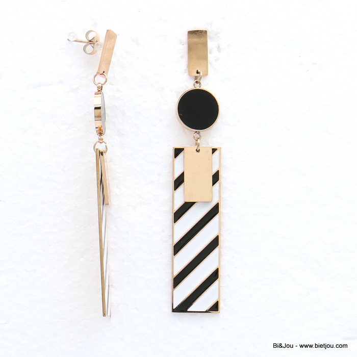 earrings 0319149-01 stainless steel rectangle geometric enamel stripe dangle women butterfly clasp 10x90mm