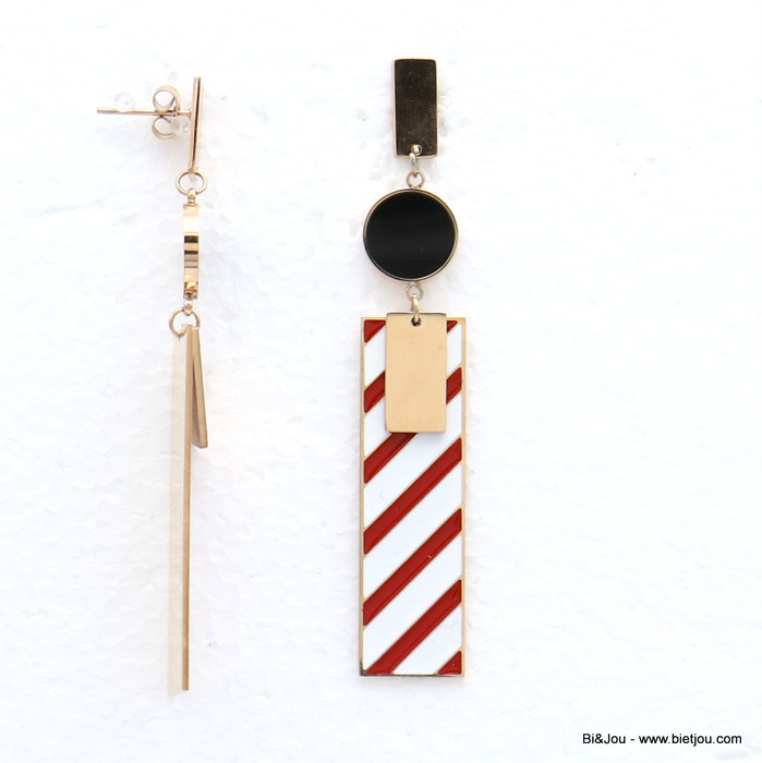 earrings 0319149-10 stainless steel rectangle geometric enamel stripe dangle women butterfly clasp 10x90mm