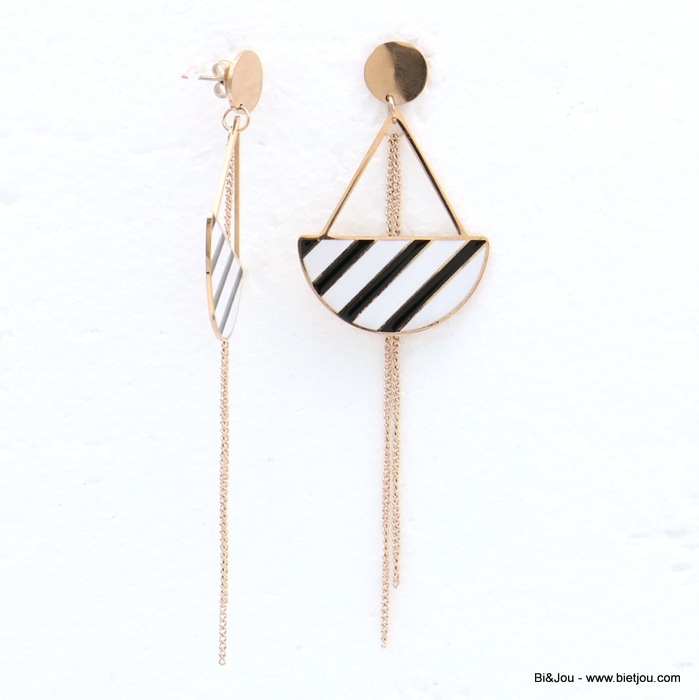 earrings 0319150-01 stainless steel half-moon chain enamel stripe dangle women butterfly clasp 30x100mm