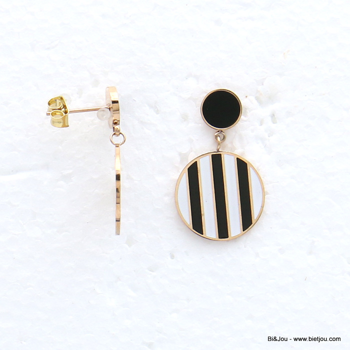 earrings 0319152-01 stainless steel round enamel stripe dangle women butterfly clasp 20x30mm
