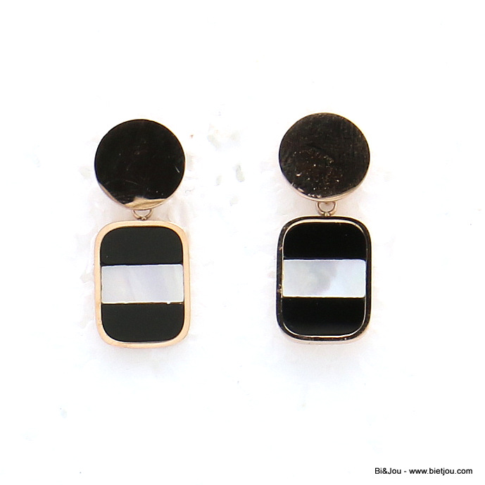 earrings 0319153-01 stainless steel rounded rectangle enamel stripe dangle women butterfly clasp 10x30mm