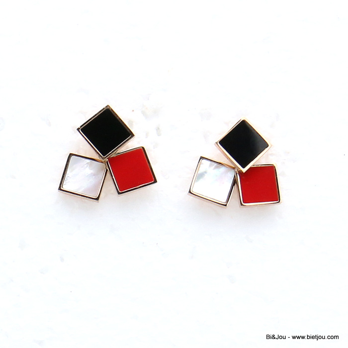 earrings 0319156-99 stainless steel square enamel women butterfly clasp 20x20mm