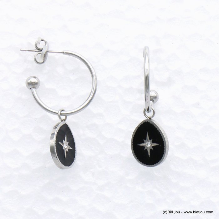earrings 0319157-01 drop stainless steel-enamel-strass 11x32mm