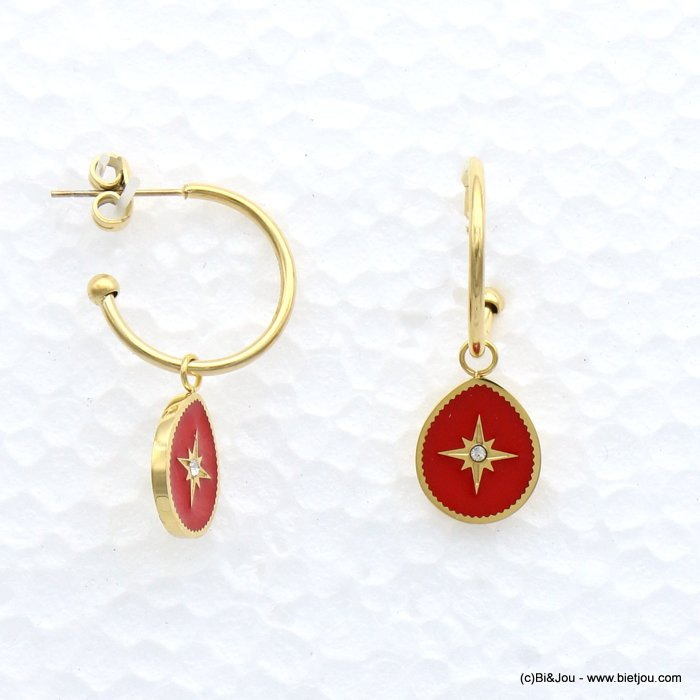 earrings 0319158-12 drop stainless steel-enamel-strass 11x32mm