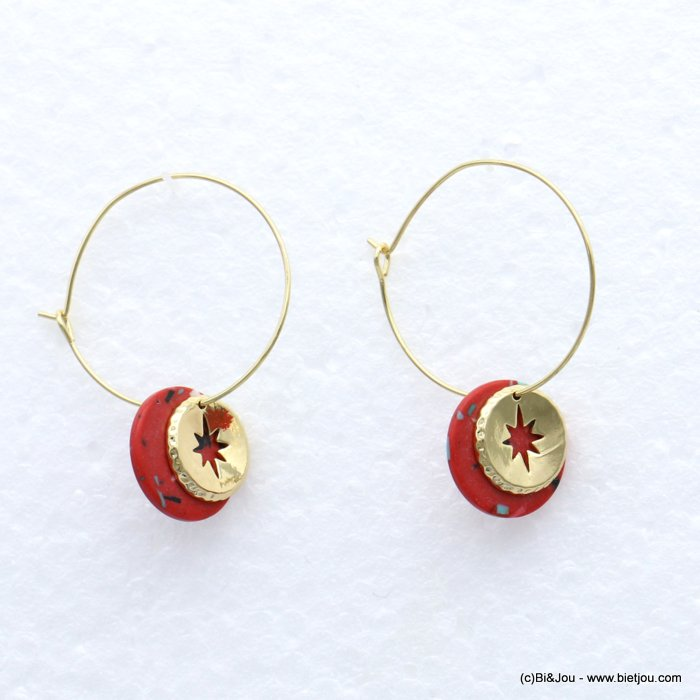 earrings 0319162-12 metal-reconstituted stone 17x43mm
