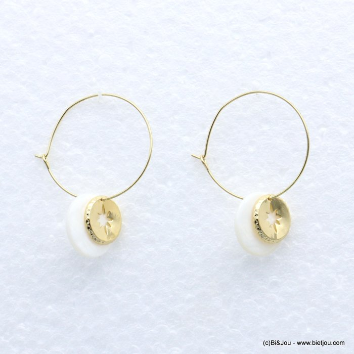 earrings 0319162-19 metal-shell 17x43mm
