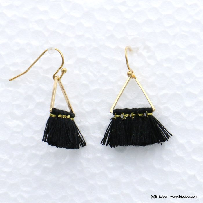 earrings 0319165-01 tassel triangle fish hook clasp metal-polyester 20x33mm